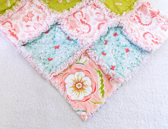 Girl Baby Rag Quilt -  Butterflies & Flowers - Pink, White, and Blue - Ready to ship