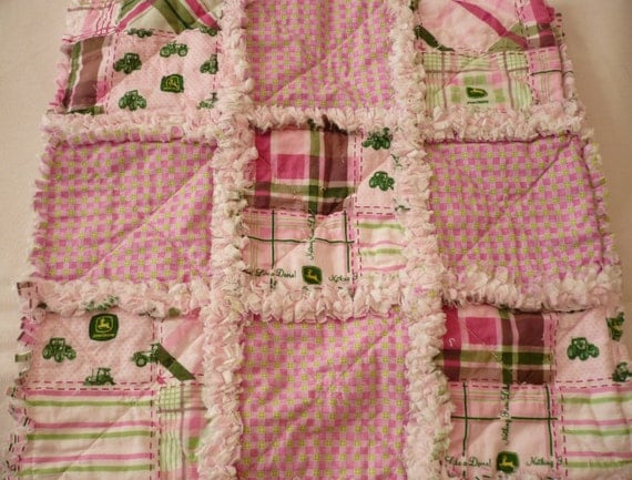Plaid Baby Quilt: Girl's Baby John Deere Plaid Rag Quilt And By