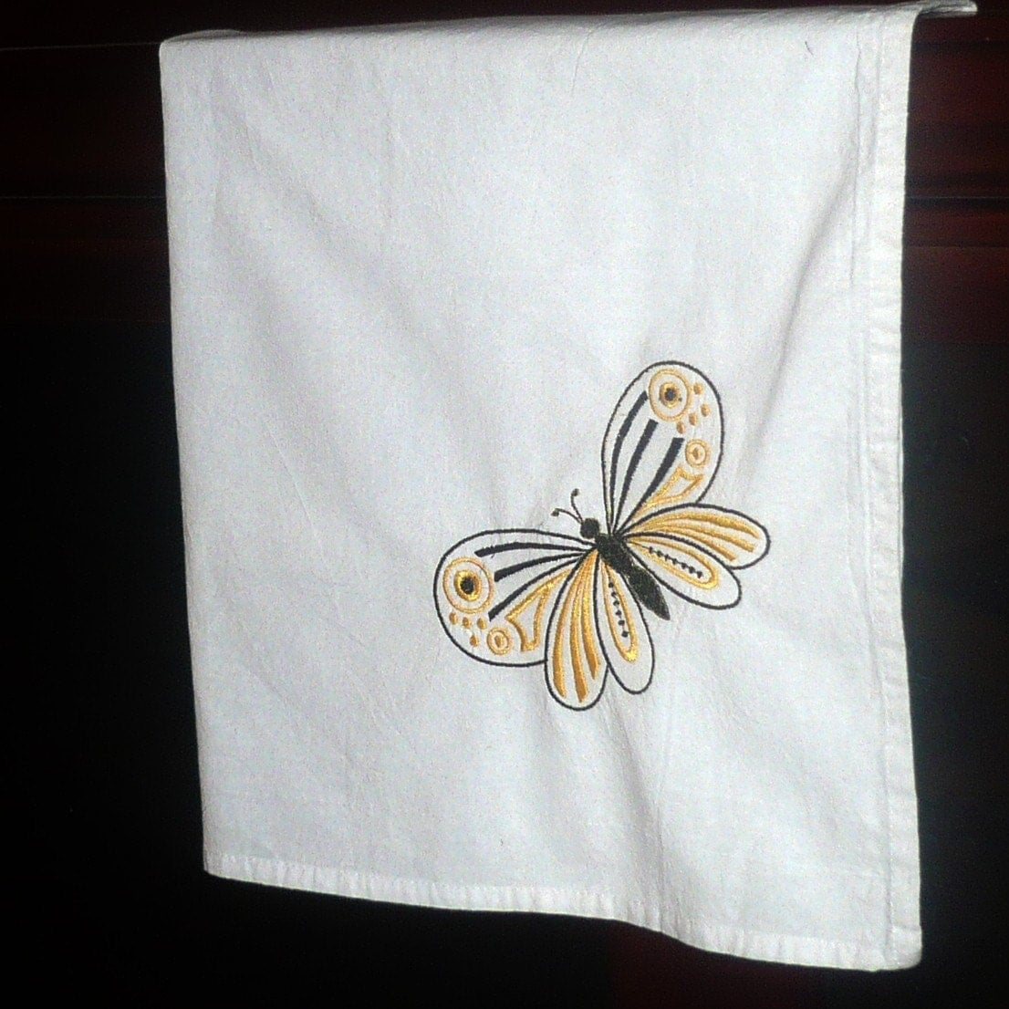 On Sale Sale White Kitchen Towel Embroidered Yellow And