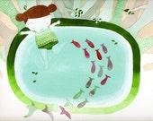 Japanese Pool - Woodland Deco - Illustration Kids Room - Baby Girl