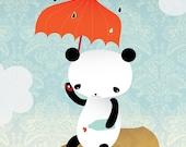 Hearts - Panda - Wall Deco - Kawaii - Poster - Raindrops