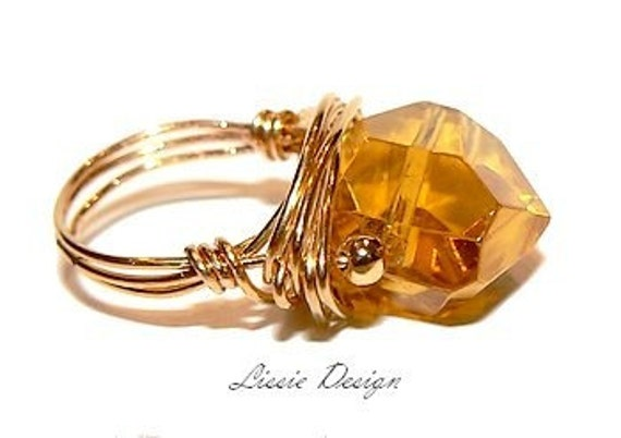 """Ring in 14 k Gold Filled with goregous cystal stone, boho, elegant, modern, statement cocktail ring """"CHARMING"""" - Free shipping!"""
