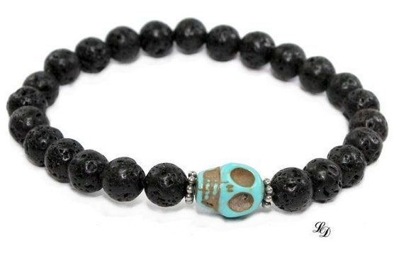 Unisex Sterling silver, lava, bracelet, Magnesite, skull, high fashion, gothic, turqouise, black, stretch, made to order - Free shipping!