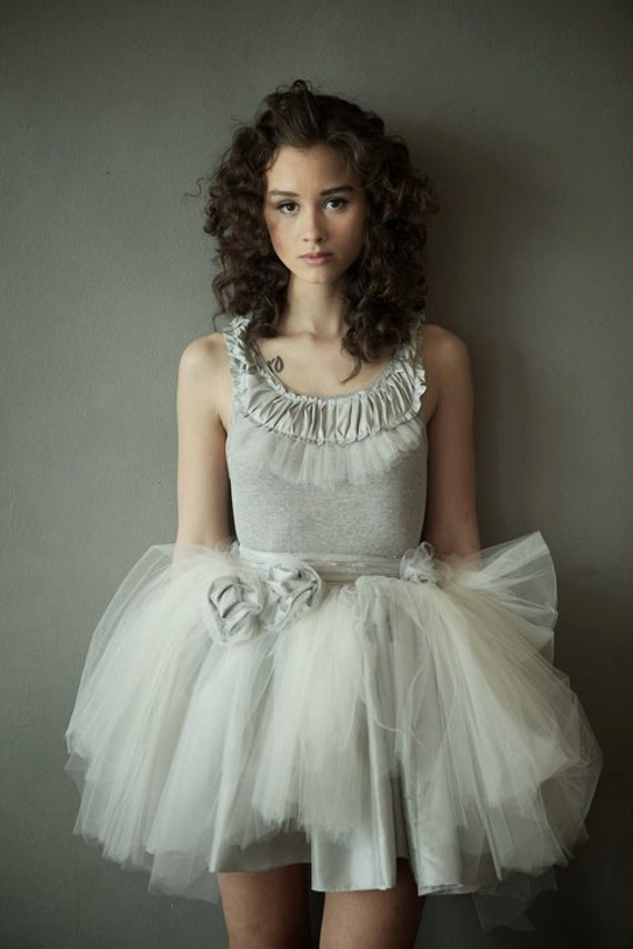 Soft grey tank with tulle and taffeta ruffles