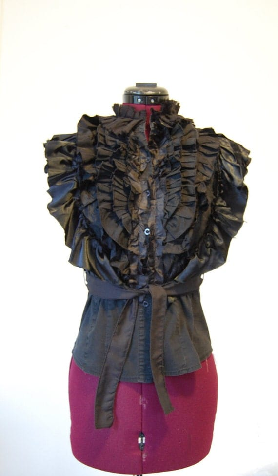 Black Up cycled repurposed shirt with lots of ruffles size small