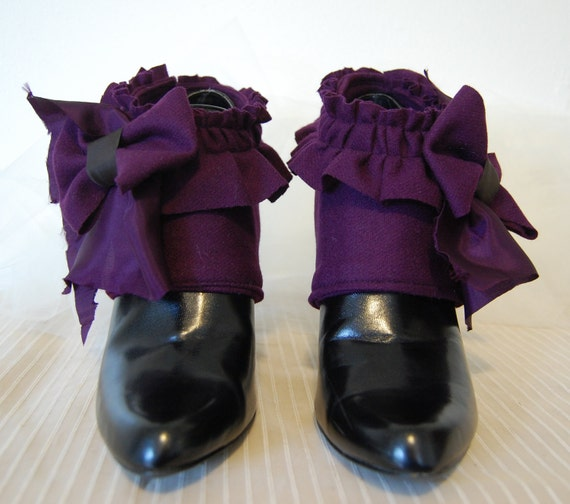 Purple Victorian steampunk fashion spats made from repurposed fabrics.