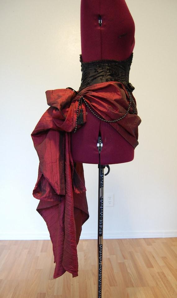 Victorian steampunk gothic dark red satin and black taffeta bustle