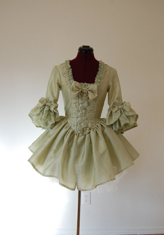 Spring green Mini Marie Antoinette rococo Victorian inspired dress with tutu 26 inch waist