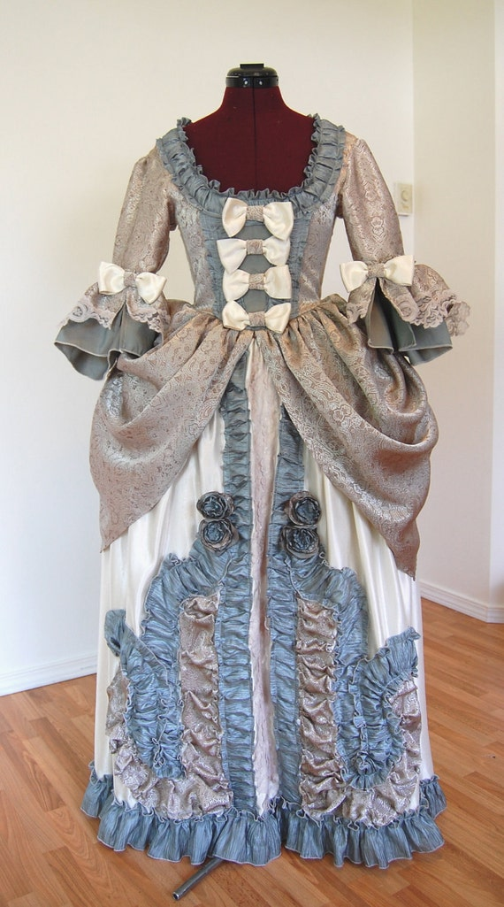 Teal silver and cream Marie Antoinette rococo Victorian inspired costume dress fits waist 26 to 28 inches comes with hips