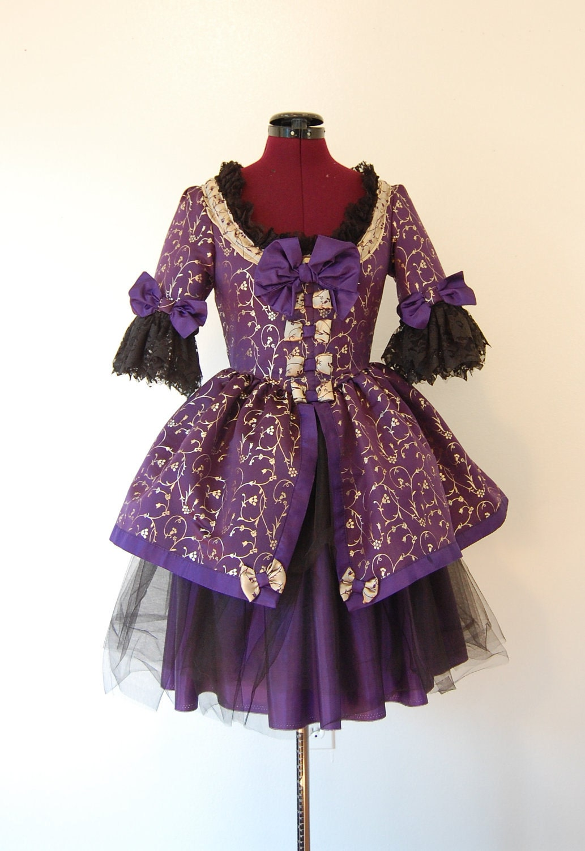 Royal Purple And Gold Victorian Rococo Dress Mini Marie