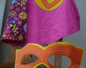 Super Hero Cape and Mask with Intial