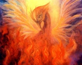 Phoenix Rising, Firebird Art Print From The Original Oil Painting by Marina Petro