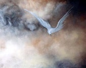 The Messenger- White Bird ART PRINT Greeting Card From the Original Oil Painting, Signed by Marina Petro