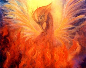 Phoenix Print Poster, Phoenix Rising,Firebird, Fine art print, home decor, Wall Art,