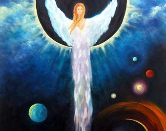 Angel Of The Eclipse - Fine Art Print Guardian Angel Art Greeting Card Signed by Marina Petro