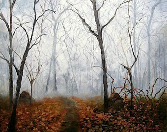 Autumn Trees In Fog Landscape Oil Painting, Autumn Mist Fine ART PRINT,signed, from the Original Oil Painting by Marina Petro