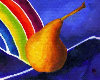 Kitchen Decor Still Life, Kitchen Art, Food art, Still life painting, fruit still life, pear painting, wall art,