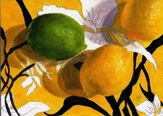 Lemon Painting, Still Life Art, Fruit Oil Painting, Lemons and Lime, byMarina Petro