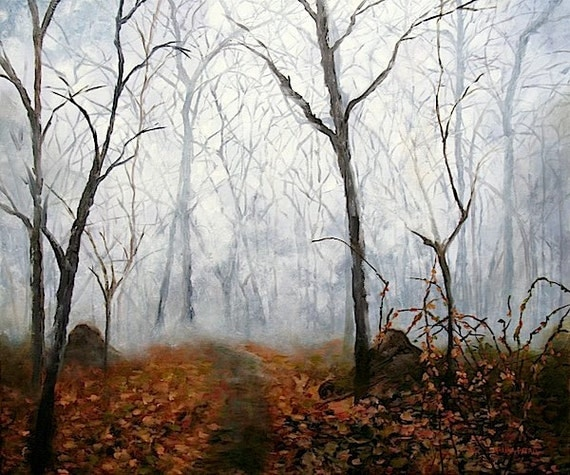 Autumn Mist, Autumn Landscape Forest Fog ART PRINT,signed, from the Original Oil Painting by Marina Petro - MarinaPetroFineArt
