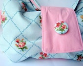 Grace Foldover Clutch in French Blue and Rose