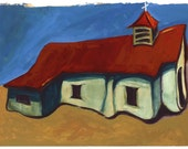 Church at Pilar - Archival Print from Original Watercolor 7.25 x 9.75 inches with border