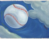 Fly Ball - Archival Print from Original Watercolor 7.5 x 9 7/8 inches with border
