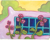 Window at Couse House - Archival Print from Original Watercolor 7.5 x 10 inches with border