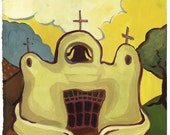 Talpa Church - Archival Print from Original Watercolor 11.25 x 15 inches with border