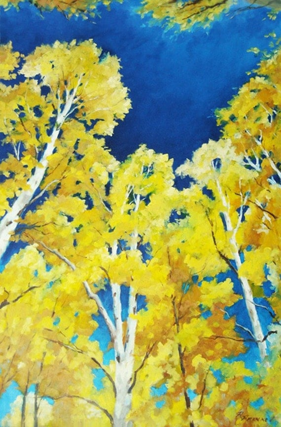 Original landscape  Birches Skyward  by  Prankearts