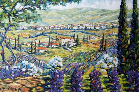 Original Large Painting Tuscany Lavender Perfume Landscape created by Prankearts