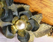 Necklace - Vintage Patina Flower and Pearl Brooch