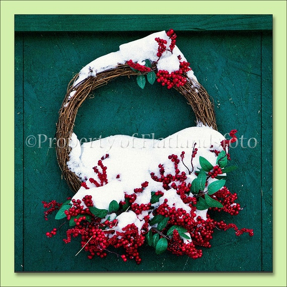 Winter Wreath - Single Press Printed Note Card with Free Shipping