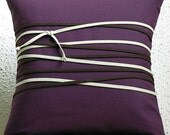 Tied up pillowcase in eggplant with beige and chocolate. Modern home decor accent by rukkola.
