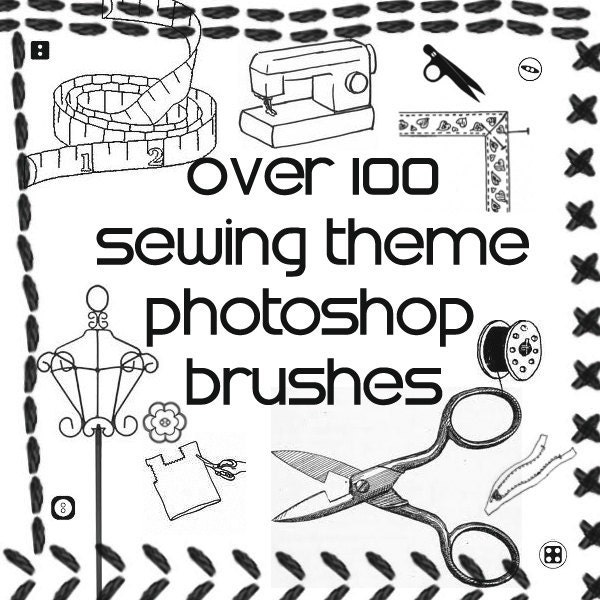 Over 100 Sewing Themed Photoshop Brushes ABR By Customgraphics