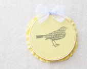 Bird Wall Decor Mini Art Hoop Maya Angelou Quote Yellow Buttercup