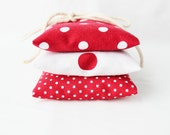 Red and White Lavender Sachets - White Polka Dots - Natural Scent Drawer Sachets