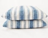 Set of 2 Balsam Sachets, Blue and White Stripes, Cottage Home Decor, Woodsy Scent Bags