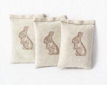 Easter Hostess Gift, Bunny Rabbit Babyshower Favors, Organic Lavender Sachets, Spring Decor