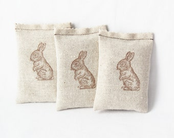 Easter Hostess Gift, Bunny Rabbit Babyshower Favors, Organic Lavender Sachets, Spring Decor