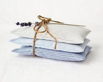 Nautical Lavender Sachets, Striped Blue Ombre Mini Pillows, Seaside Cottage Decor