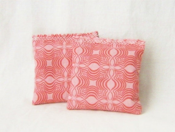 Scented Drawer Sachets, Pink Coral Geometric, Organic Lavender, Natural