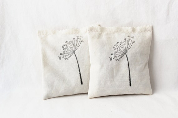 Dandelion Bridal Shower Favors, Sachets with Real Dried Flowers, Country Wedding Hostess Gift