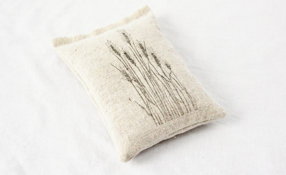 Botanical Scented Sachet, Rustic French Country Decor, Wheat Grass Pillow Sachet, Natural Home
