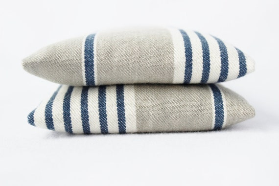 Indigo Stripe Balsam Sachets, Grey and White French Country Drawer Sachets