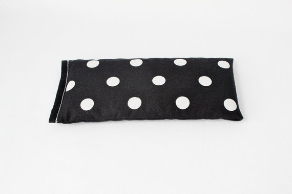 Lavender Flax Seed Eye Pillow, Black and White Polka Dots