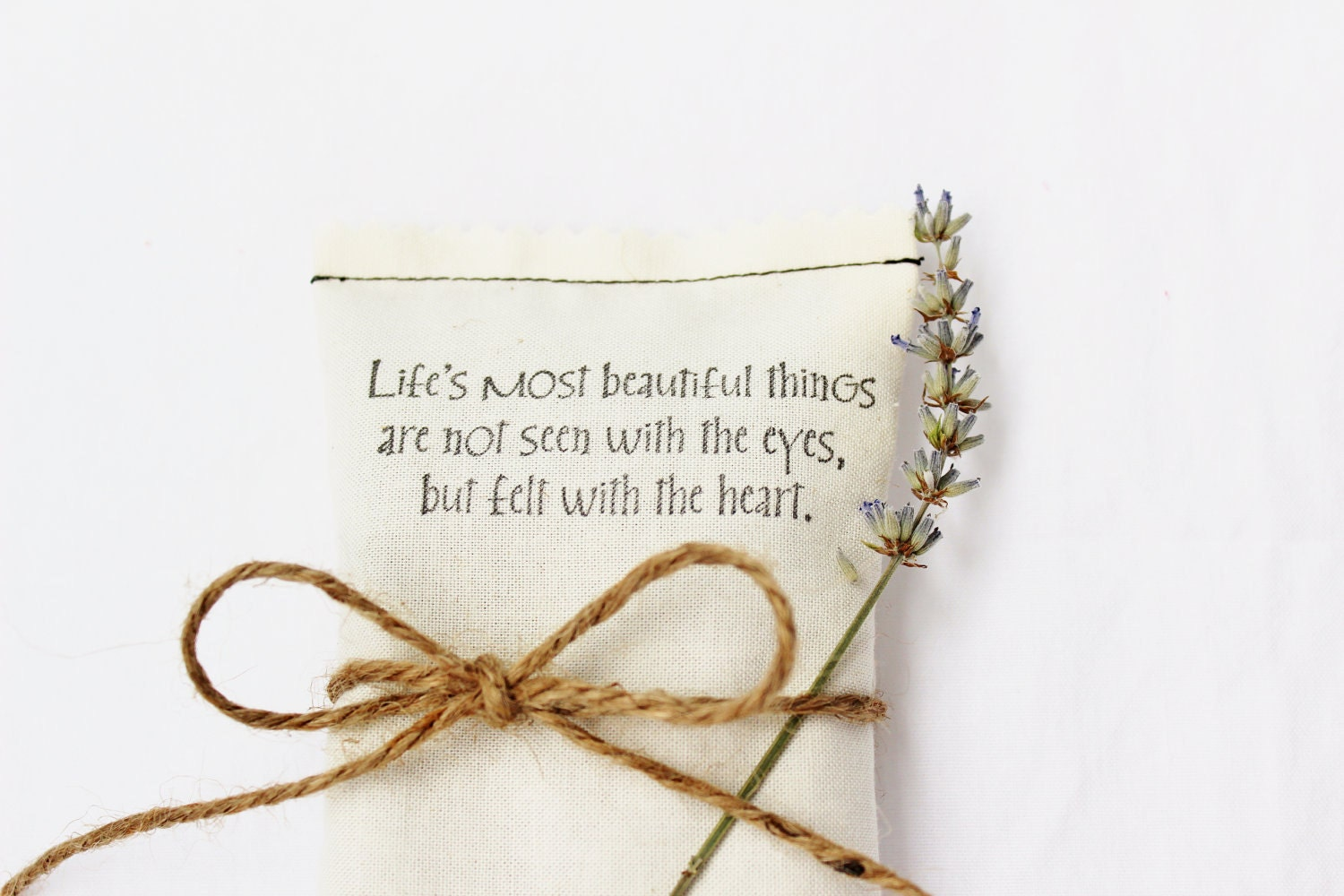 cream lavender sachet love quote wedding shower favor by