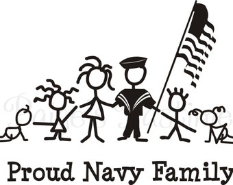 Navy Corps Decal - Navy Family - Navy Stick Family - Memorial Day - 4th of July - Proud Military Family - Military