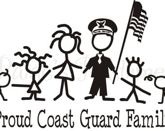 Coast Guard Decal - Coast Guard Family - Coast Guard Stick Family - Memorial Day - 4th of July - Proud Military Family - Military