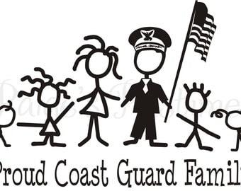 Coast Guard Stick Family Decal Sticker