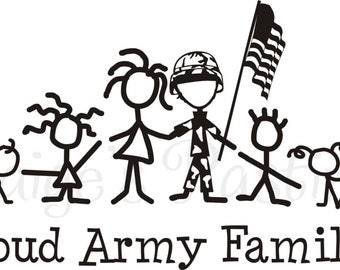 Army Stick Family Decal Sticker